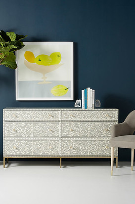 Anthropologie Scroll Vine Inlay Six-Drawer Dresser By in Grey Size M