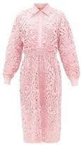 No.21 No. 21 - Embellished-collar Guipure-lace Shirt Dress - Womens - Pink
