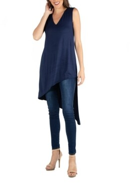 24seven Comfort Apparel Long Sleeveless Tunic Top with V-Neck and Asymmetric Hem
