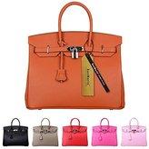 "SanMario Designer Handbag Top Handle Padlock Women's Leather Bag with Silver Hardware /12"""