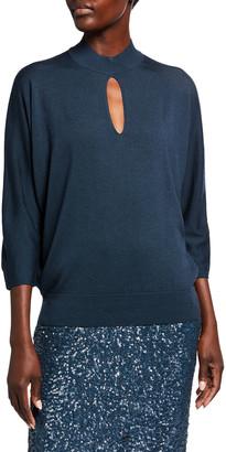 Lafayette 148 New York Fine Gauge Merino Wool Keyhole Dolman Sweater