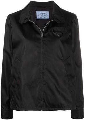 Prada Triangular Patch Zipped Jacket