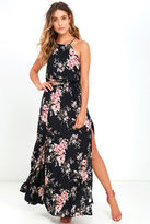 Feel the Music Navy Blue Floral Print Maxi Dress