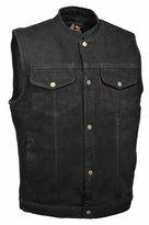 Milwaukee Leather Mens Denim Snap Front Gun Pocket MC Vest