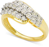 Macy's Diamond Cluster Ring (1/10 ct. t.w.) in 14k Gold-Plated Sterling Silver
