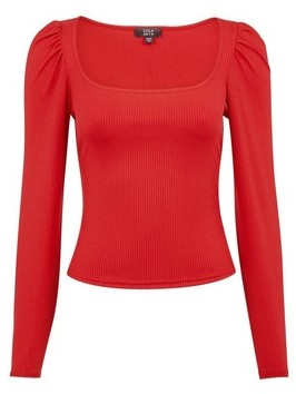 Dorothy Perkins Womens Lola Skye Red Puff Shoulder Top, Red