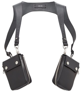 Amiri Zipped-pouch Leather Harness - Black