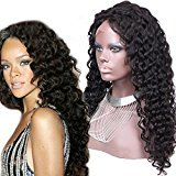 130density Brazilian Virgin Hair Lace Wig Natural Black Color New Cap Style Curly Lace Front Human Hair Wigs for Black Women (32inch lace front wig, natural hair color)