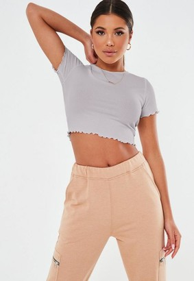 Missguided Tall Gray Waffle Crew Neck Crop Top