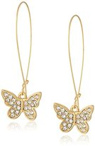 Kensie Kidney Wire with Pave Butterfly Earrings