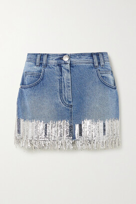 BALMAIN - Fringed Sequined Denim Mini Skirt - Blue