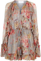 Zimmermann Blue Floral Mercer Floating Playsuit