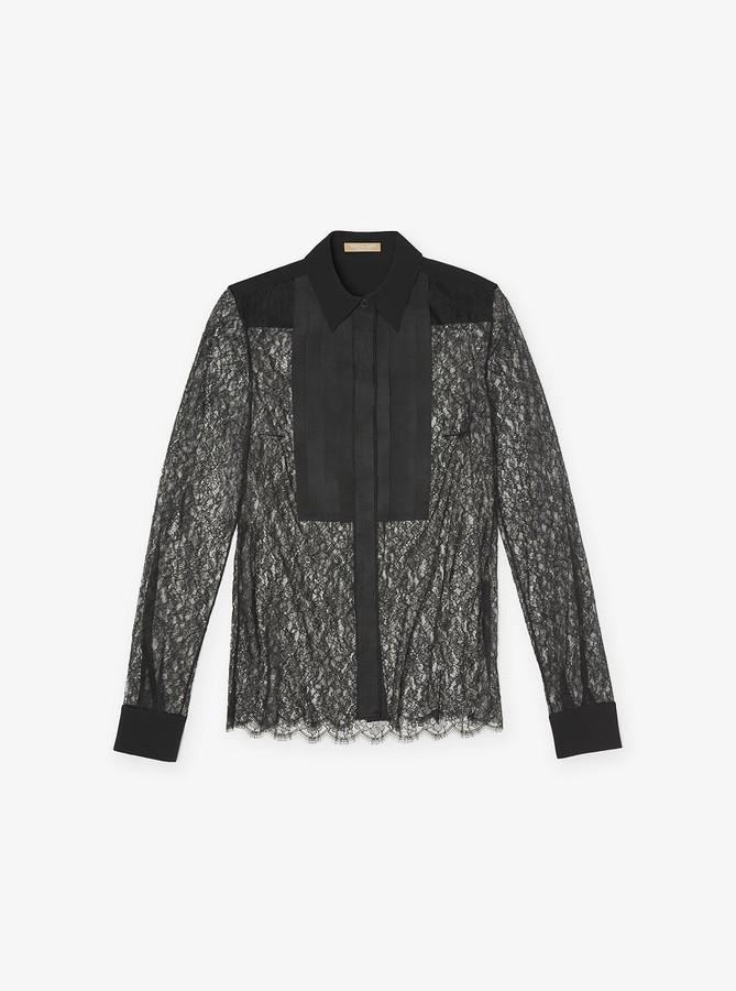 Michael Kors Chantilly Lace Tuxedo Blouse