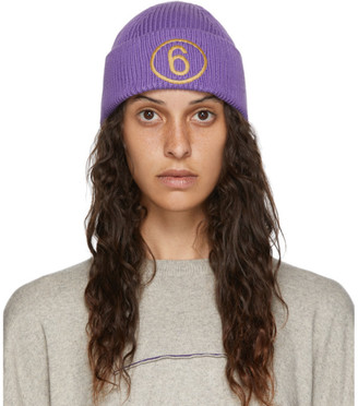 MM6 MAISON MARGIELA Purple Logo Beanie