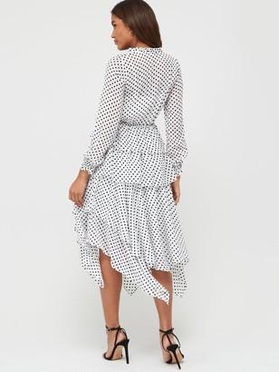 Very Polka Dot Tiered Midaxi Dress - White Spot