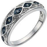 Brilliance+ Brilliance Silver 1/10 Carat White & Treated Blue Diamond Eternity Ring