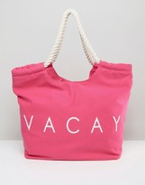 South Beach Pink Vacay Beach Bag
