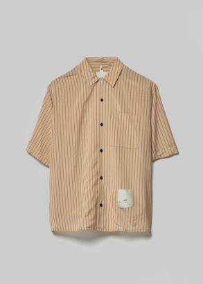 Oamc Men's Kurt Striped Short Sleeve Shirt in Beige Size Small