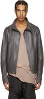Rick Owens Grey Leather Molinos Biker Jacket