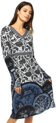 White Mark Women's Print Midi Sweaterdress