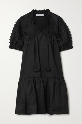 Sea Zig Zag Embroidered Ramie Mini Dress - Black