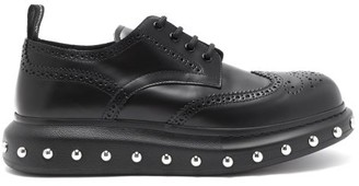 Alexander McQueen Studded Exaggerated-sole Leather Derby Shoes - Mens - Black Multi
