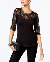 INC International Concepts Anna Sui x Illusion Lace Top, Created for Macy's