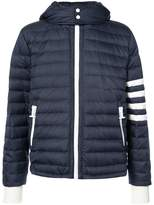 Thom Browne Downfilled Ski Jacket With 4-Bar Stripe Sleeve & Detachable Hood In Navy Mini Ripstop