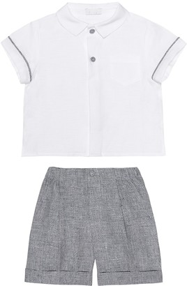 Il Gufo Baby linen shirt and shorts set