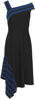 Bailey 44 Asymmetric Draped Striped Jersey Dress