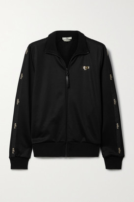 Fendi Embroidered Satin-trimmed Tech-jersey Track Jacket - Black