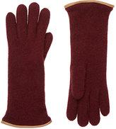 Barneys New York Women's Leather-Trimmed Cashmere Gloves-Burgundy
