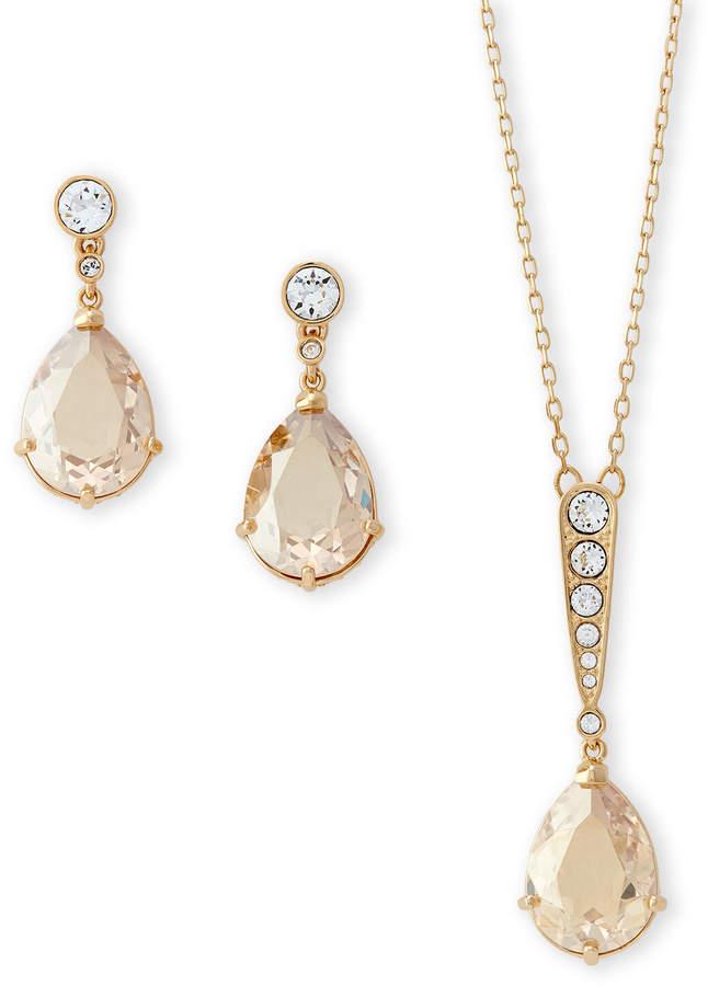 716e30b8fe87c Gold-Tone Vintage Necklace & Drop Earring Set