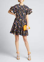 Ulla Johnson Leonie Printed Ruffle Short-Sleeve Dress