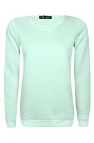 Select Fashion Fashion Womens Green Zig Zag Long Sleeve Sweat - size 6