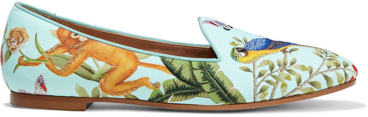 Aquazzura + De Gournay Amazonia Embroidered Printed Crepe Loafers