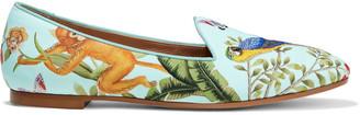 Aquazzura + De Gournay Amazonia Printed Jacquard Loafers