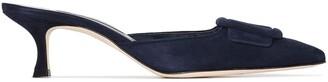 Manolo Blahnik blue Maysale 50 buckle suede mules