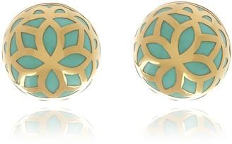 Georgina Jewelry Gold Turquoise Signature Flower Ball Earrings