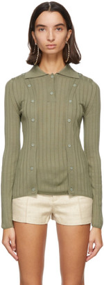 Jacquemus Green Wool La Maille Baho Polo