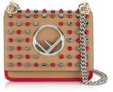 Fendi Kan I F Small Sand and Red Leather Crossbody Bag w/Studs