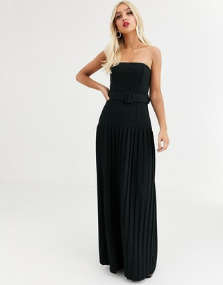 Asos Design DESIGN belted pleated bandeau maxi dress-Black