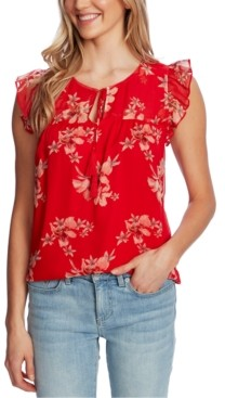 CeCe Floral-Print Ruffled Top