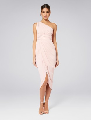 Forever New Mandy One-Shoulder Drape Maxi Dress - Nude - 4