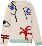 Joseph Tree Fringed Intarsia Wool Sweater - Cream