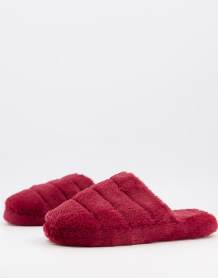 ASOS DESIGN Zoe quilted slide slippers in berry