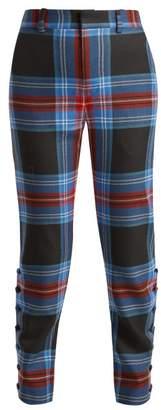 Charles Jeffrey Loverboy Teddy Tartan Wool Trousers - Womens - Blue Multi