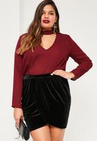 Missguided Plus Size Black Velvet Wrap Mini Skirt