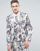 Asos WEDDING Super Skinny Suit Jacket in Cream Floral Print