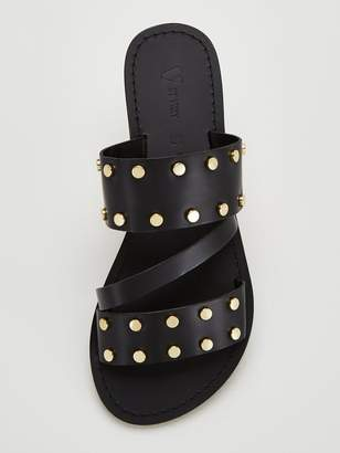 Very Hop Leather Wide Fit Studded Flat Sandals